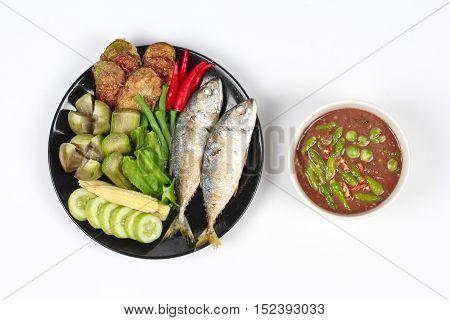 Thai local popular food as spicy shrimp paste dip ,