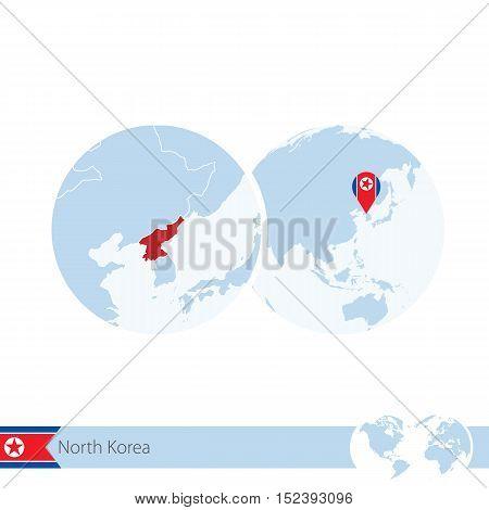 North Korea On World Globe With Flag And Regional Map Of North Korea.