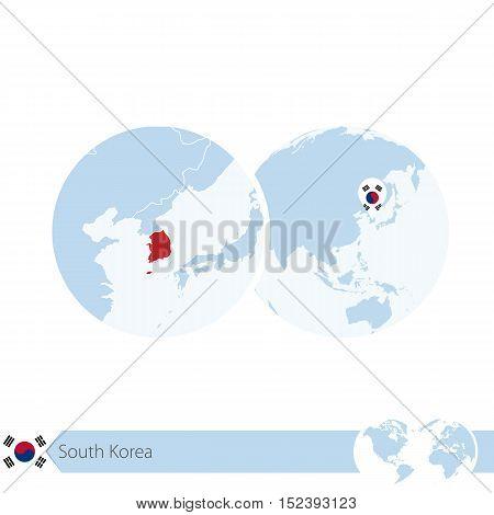 South Korea On World Globe With Flag And Regional Map Of South Korea.