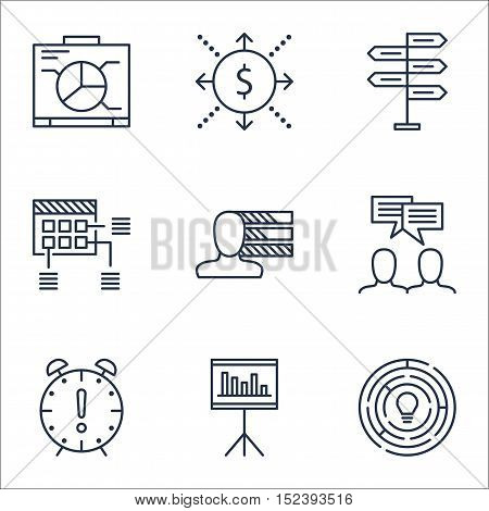 Set Of Project Management Icons On Money, Presentation And Time Management Topics. Editable Vector I