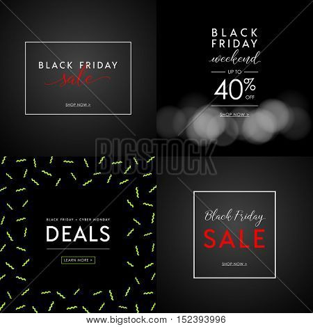 Black Friday Sale illustrations for social media banners, ads, newsletters, posters, flyers, websites. Set of typographic vector designs.