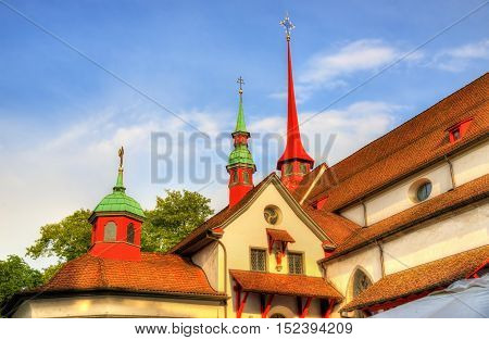 Details of Franciscan church in the old town of Lucerne - Switzerland