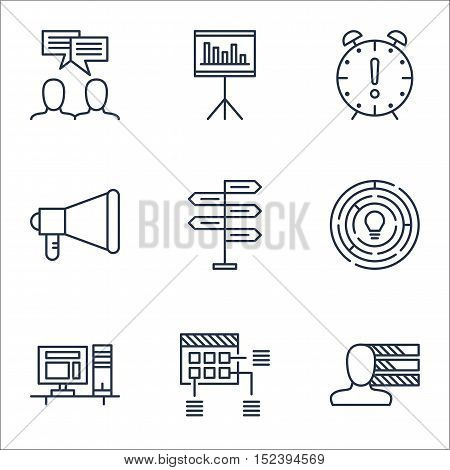 Set Of Project Management Icons On Discussion, Schedule And Innovation Topics. Editable Vector Illus
