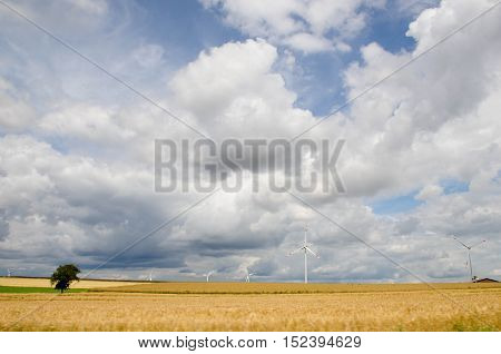 Wind turbines on a field with a blue sky and clouds