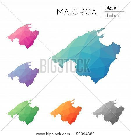 Set Of Vector Polygonal Majorca Maps Filled With Bright Gradient Of Low Poly Art. Multicolored Islan