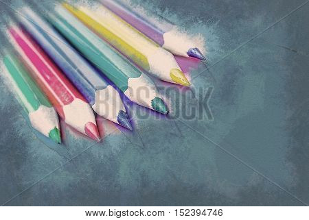 Colorful pencils on colored paper. Abstract background. Vintage painting, background illustration, beautiful picture, abstract texture