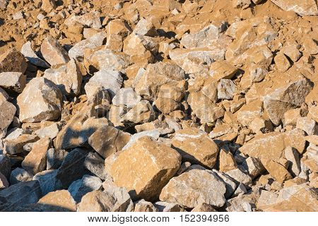 Rock slide area: pile of fallen rocks (boulders) covering the ground
