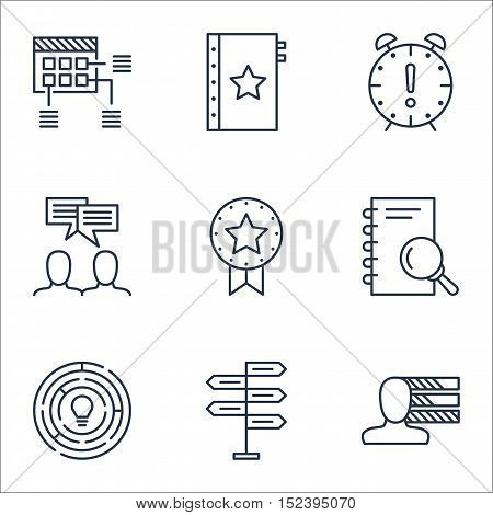 Set Of Project Management Icons On Time Management, Personal Skills And Discussion Topics. Editable
