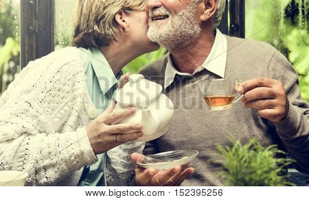 Senior Couple Afternoon Tea Drinking Relax Concept