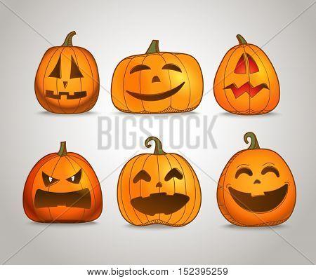 Different color pumpkins silhouettes vector set