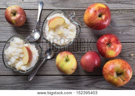 Porridge from rice with apple. Food background