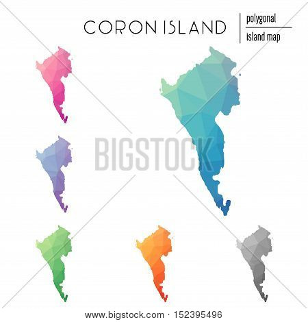 Set Of Vector Polygonal Coron Island Maps Filled With Bright Gradient Of Low Poly Art. Multicolored