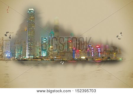 Hong Kong Island with scyscrapes illuminated by night, viewed from Kowloon, Hong Kong, China. Vintage painting, background illustration, beautiful picture, travel texture