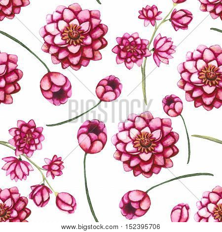 Watercolor Deep Pink Dahlia and Buds Seamless Floral Pattern