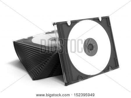 3D Cd Cases Open On White Background