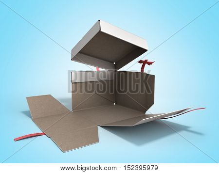 Open White Square Gift Box With Red Ribbon And Bow 3D Render On Gradient