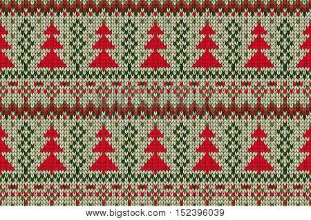 Knitted Seamless Christmas Tree Print