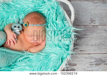 sweet sleeping newborn girl on turquoise fluffy blanket with flowers on her headband