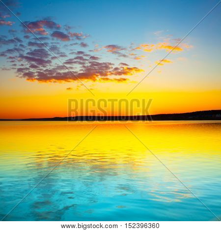 Amazing sunset over the river in Russia