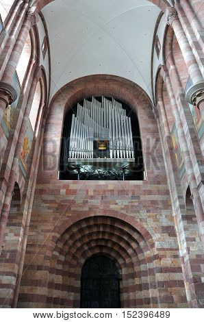 SPEYER, GERMANY - APRIL 11, 2015: Interior of the church in Speyer with the pipe organ. Germany.