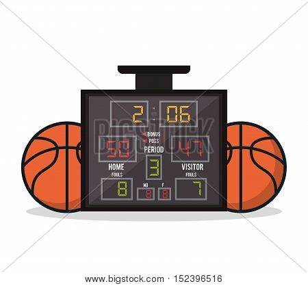 Ball and marker icon. Basketball sport hobby and competition theme. Colorful design. Vector illustration