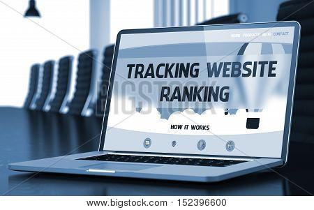 Tracking Website Ranking Concept. Closeup Landing Page on Laptop Display on Background of Conference Hall in Modern Office. Toned Image. Blurred Background. 3D Render.