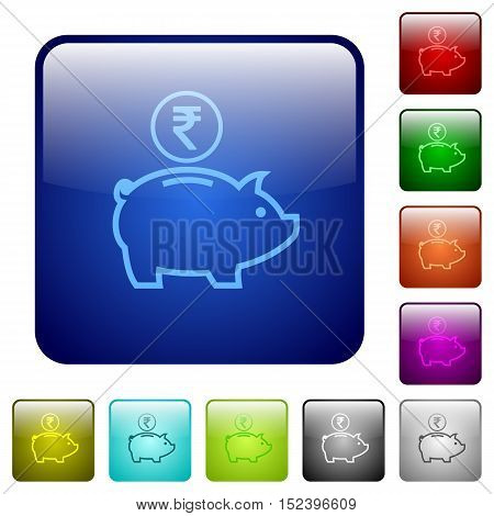 Set of indian Rupee piggy bank color glass rounded square buttons