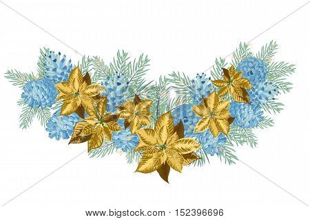 Vintage Christmas garland with blue pine cones and golden poinsettia isolated on white background. Vector illustration