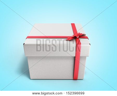 White Square Gift Box With Red Ribbon And Bow 3D Render On Gradient Background