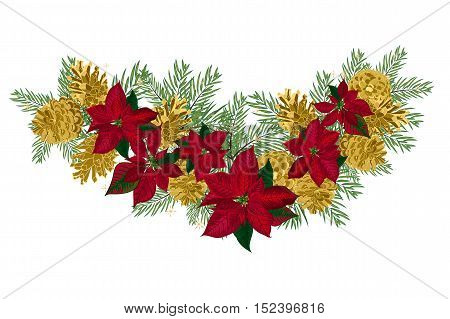 Vintage Christmas garland with golden pine cones and red poinsettia isolated on white background. Vector illustration