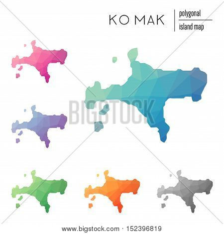 Set Of Vector Polygonal Ko Mak Maps Filled With Bright Gradient Of Low Poly Art. Multicolored Island