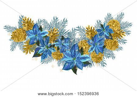 Vintage Christmas garland with golden pine cones and blue poinsettia isolated on white background. Vector illustration