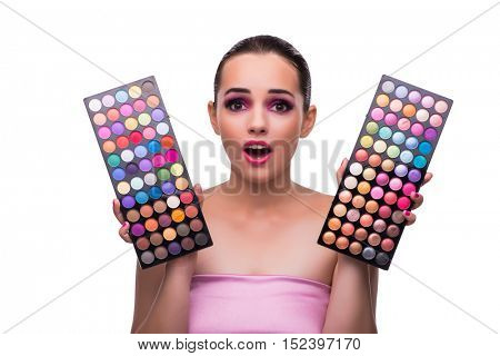 Woman choosing colours for her make-up