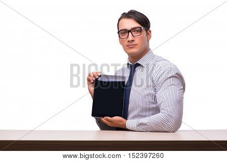 Man presenting using tablet computer