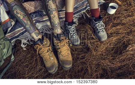 People Friendship Hangout Traveling Camping Tattoo Concept