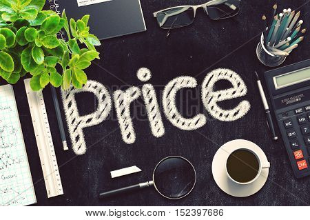 Price on Black Chalkboard with Office Supplies Around. 3d Rendering. Toned Image.