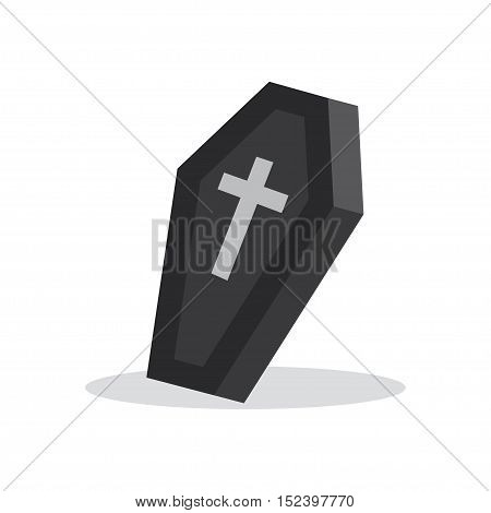 black coffin with cross. Closed coffin, vector illustration