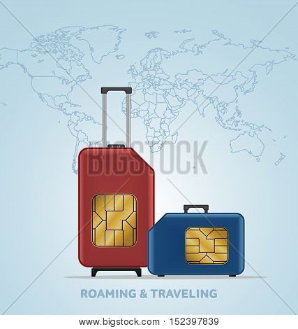 Travel SIM vector illustration on blue radial gradient background. Roaming. Luggage. World map.