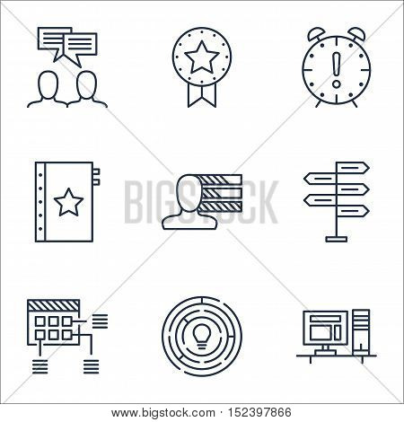 Set Of Project Management Icons On Time Management, Present Badge And Personal Skills Topics. Editab