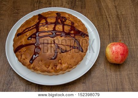 Homemade pie on rustic background