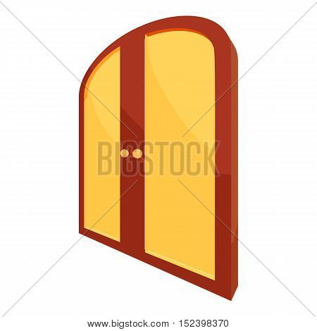 Double yellow door icon. Cartoon illustration of door vector icon for web design