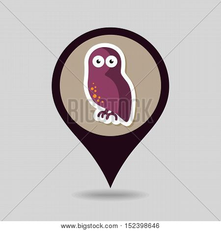 Halloween owl mapping pin icon vector illustration eps 10