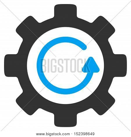 Gear Rotation Direction vector pictograph. Style is flat graphic bicolor symbol, blue and gray colors, white background.