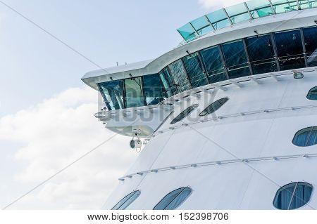 Side of Navigation Bridge of Cruise Ship