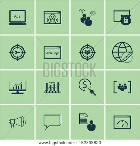 Set Of Advertising Icons On Report, Website Performance And Security Topics. Editable Vector Illustr