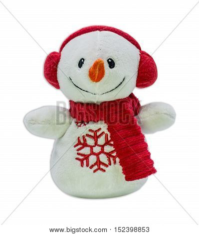 Snowman toy isolated on white background with path for Christmas