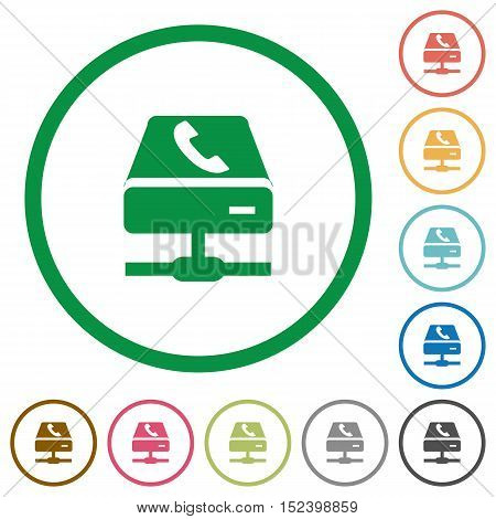 Set of VoIP services color round outlined flat icons on white background