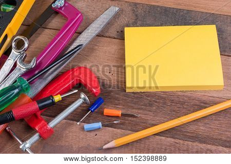 Copy Space Working Tools. Set Of Working Tools On Wooden Background. Wood Working Tools Background C