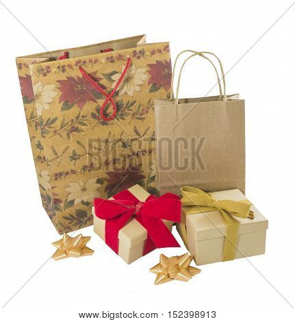 Vintage wrapped gift bags parcels and holiday packages