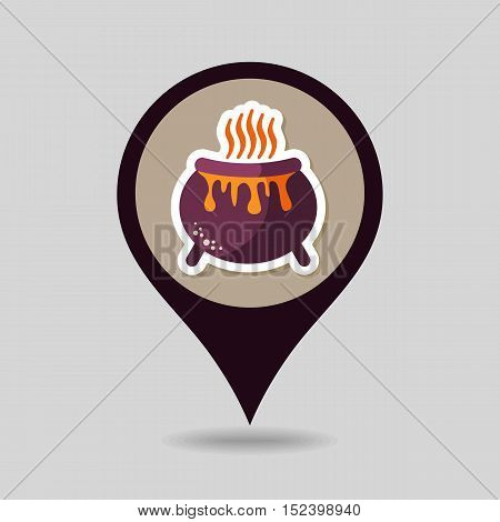 Halloween witch cauldron mapping pin icon vector illustration eps 10